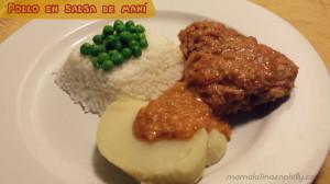 Pollo en salsa de maní al estilo peruano.