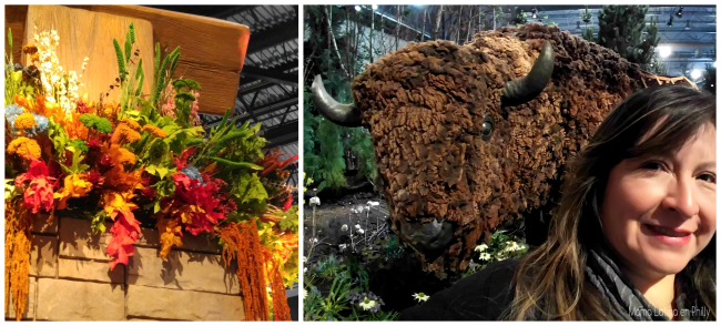 La esculptura del bufalo a la entrada del Show de flores. Explore America Flower Show Philadelphia