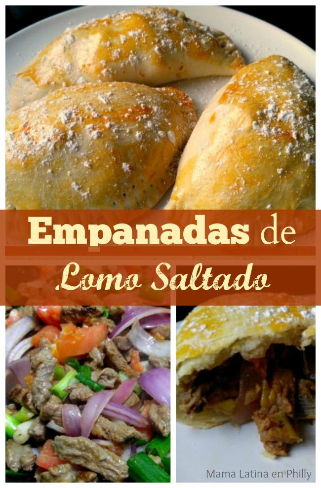 Empanadas al horno rellenas con lomo saltado, al estilo peruano.