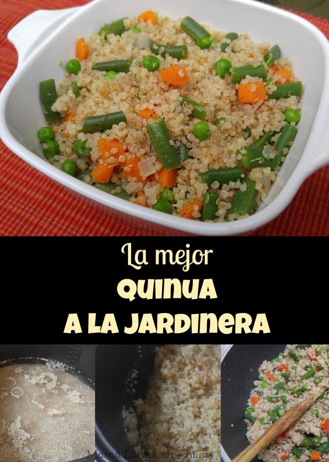 Quinua a la Jardinera, una receta muy fácil de preparar y con una textura graneada como resultado de cocinar la quinua en la olla arrocera. Son muy pocos los ingredientes, les puedes agregar los vegetales que quieras y quedará exquisito!