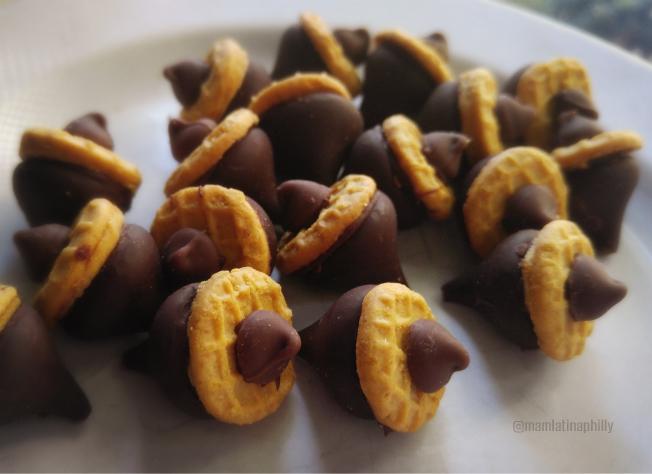 dulces de otono con galletas y chocolate, ballotas.