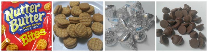 ingredientes para las bellotas acorns de galletas y .chocolates