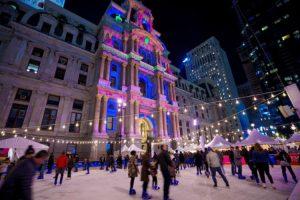 Patinaje y luces de navidad en Dillworth Park City Hall Filadelfia Philadelphia