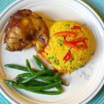 Pollo Adobado a la olla con Arroz a la Jardinera